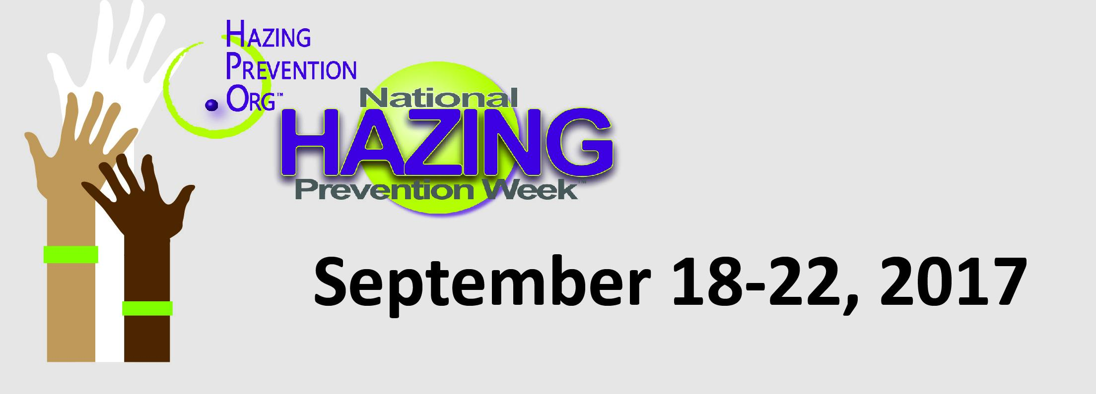 HazingPrevention.org logo featuring the dates of National hazing prevention week from September 18-22, 2017