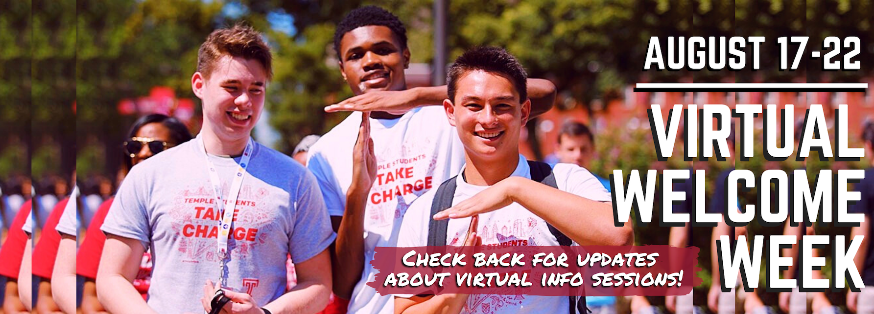 August 17-22, Virtual Welcome Week. Check back for updates on virtual info sessions.
