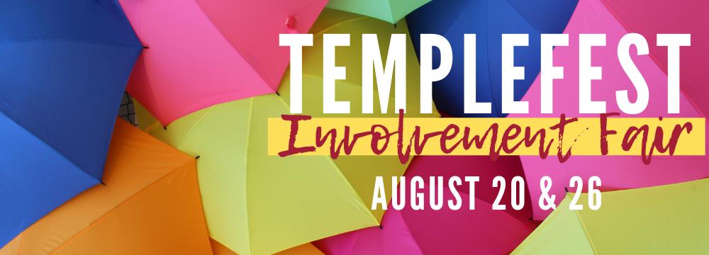 Templefest Grpahic with Umbrellas