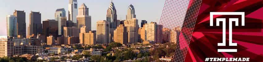 Philadelphia skyline with Temple logo and #TempleMade