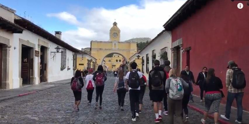 Students walking together in the streets of Guatemala